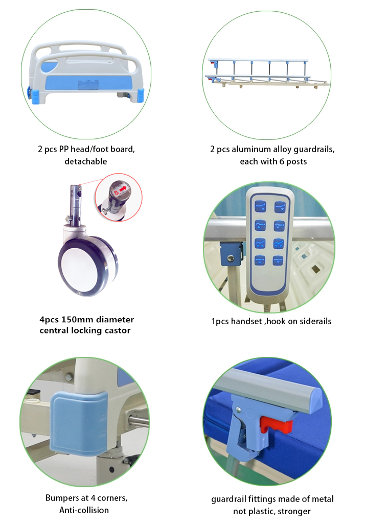 3 function electric hospital bed accessores feature