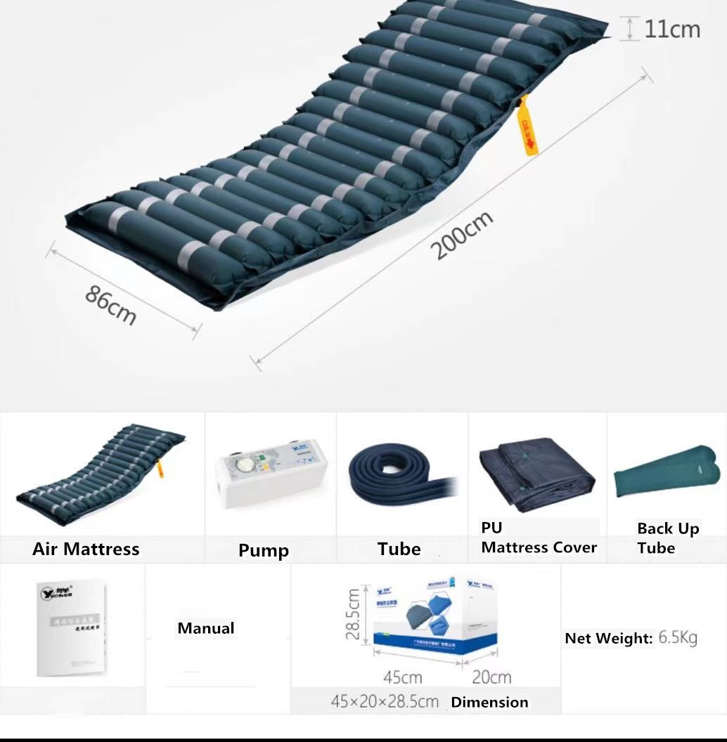 Air mattress for hospital bed feature