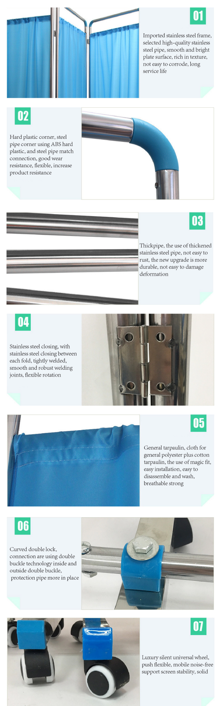 hospital bed screen curtain feature