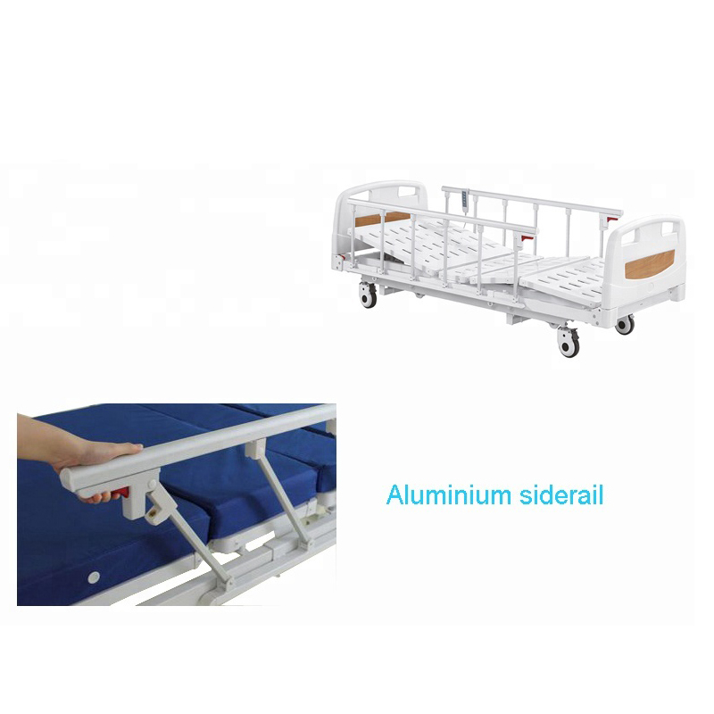 Low hospital bed with foldable side rails